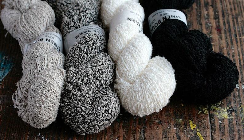 Linen boucle yarn  DK  light worsted image 0