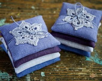 Lavender sachets -- crochet motif -- set of 4