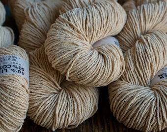 Beige linen/cotton yarn for bags, baskets, hats -- 100 g