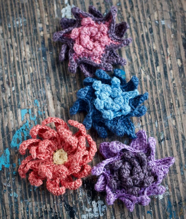 Crochet Linen Flower Star Brooch  purple red blue image 0