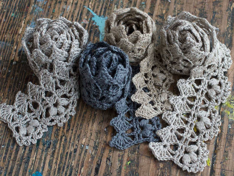 Hand Crocheted Linen Edging Lace Trim  natural grey image 0