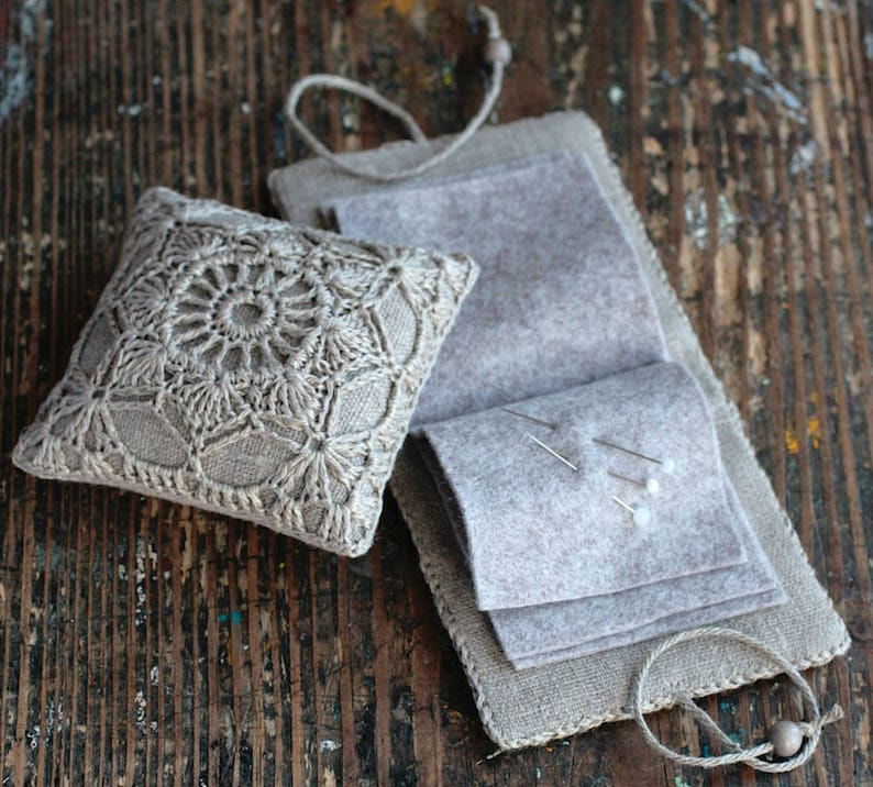 Gift set  linen pincushion and needle book  crocheted image 0