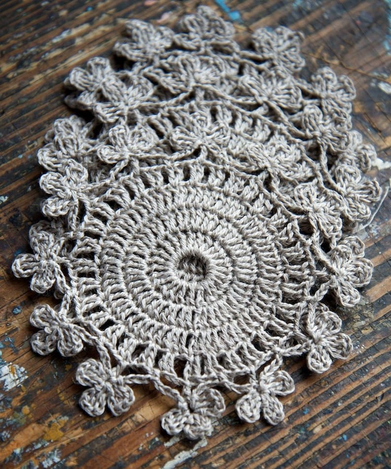 Pure linen hand crocheted coaster  small doily  set of 2 image 0