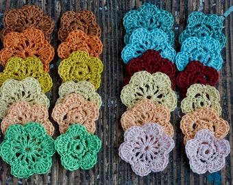 Crocheted linen flowers (small) -- set of 12