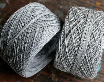 Linen yarn thread -- two balls -- light grey, silver