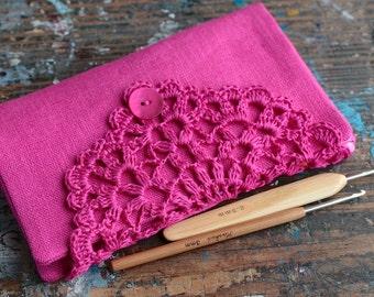 Linen Crochet Hook Case - Holder - Organizer -- fuchsia