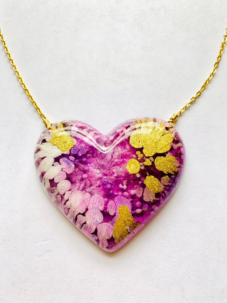 Resin Heart Necklace, Epoxy Resin Heart Pendant, Resin Heart Necklace,  Handmade Heart Necklace, Ready To Ship
