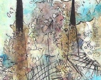 No. 6022A, ACEO Art Cards Editions & Originals ATC Fantasy Landscape by NoRaHzArT