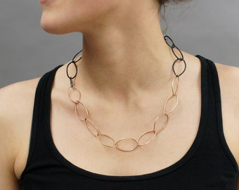 Audrey necklace - two-tone bronze and black steel chain link classic necklace