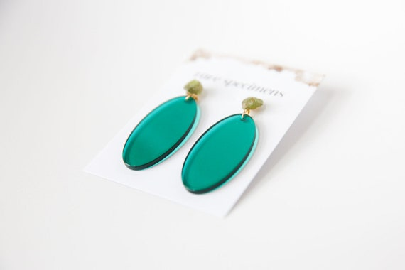 Acrylic Oval Earrings - Green