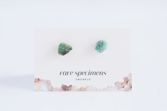 Raw Emerald Stud Earrings