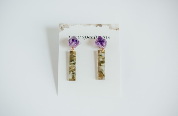 Rare Specimens – Stick Drops – Moss With Amethyst