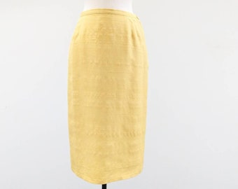 Vintage 1950s Don Loper Beverly Hills Mustard Yellow Raw Silk Pencil Skirt - Size S/M - See Measurements