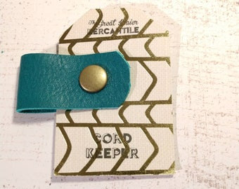 Leather Cord Organizer - Turquoise Leather and Brass Snap Closure - Keep Cords Organized - Headphone Earbud Keeper - Stocking Stuffer