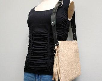 Cream Reptile Look Leather Handmade Shoulder Bag with Vintage Belt Strap and Zipper Top - Inside Pocket - Tassel Bag
