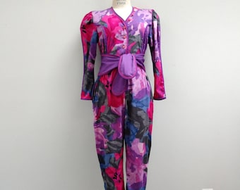 Jeanne Marc Designer 1980s Jumpsuit - Pink and Purple Puff Sleeved Button Down Romper