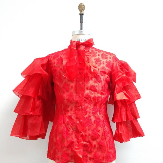 Vintage Red Lace Fully Loaded Ruffled Sleeve Blous