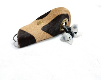 Hair on Hide Leather Cord Keeper - Brown Leather Brass Snap Closure - Cord Organizer - Headphone Earbud Keeper - Cord Taco - Cord Tie
