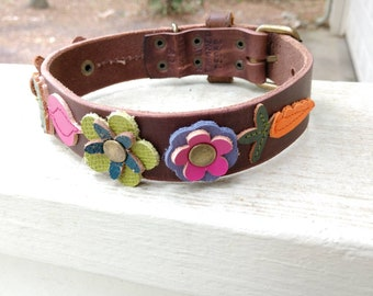Annapolis Green's Here We Grow Beautiful & Delicious Collars - Size M Floral Dog Collar - One of a Kind Flowers + Veggies Dog Collar