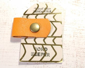 Leather Cord Organizer - Orange Leather and Brass Snap Closure - Keep Cords Organized - Headphone Earbud Keeper - Coworker Gift