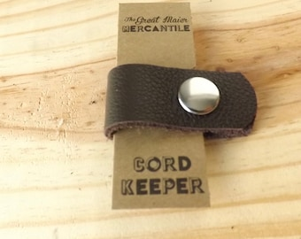 Brown Leather Cord Keeper - Brown Leather Silver Brass Snap Closure - Cord Organizer - Headphone Earbud Keeper - Cord-Keeper - Cord Tie