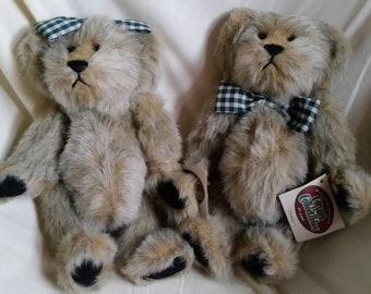 Vintage Cottage Collectibles Ganz Dennis and Dorothy Stuffed Bear Couple