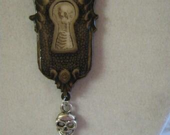 Skeleton Keyhole and Skull Key Necklace