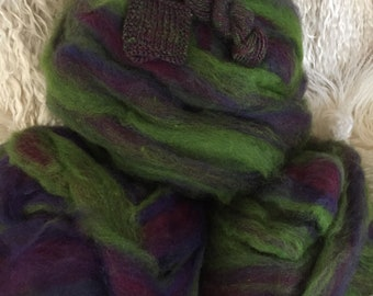 Violet Forest - appx. 8 ounces - Wool and Mohair Roving