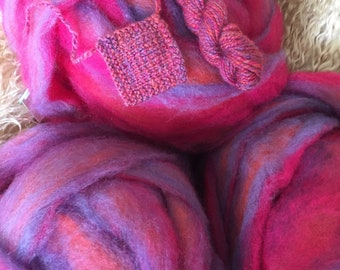 Rosy Periwinkle - appx. 8 ounces - Wool and Mohair Roving