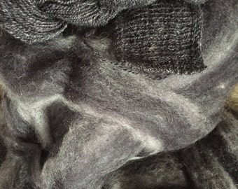 Granite - appx. 8 ounces - Wool and Mohair Roving