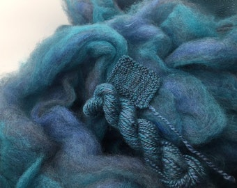 Oceans Blue - appx. 8 ounces - Wool and Mohair Roving