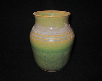 SALE   vase in muted green and yellows, stoneware pottery, dishwasher and food safe