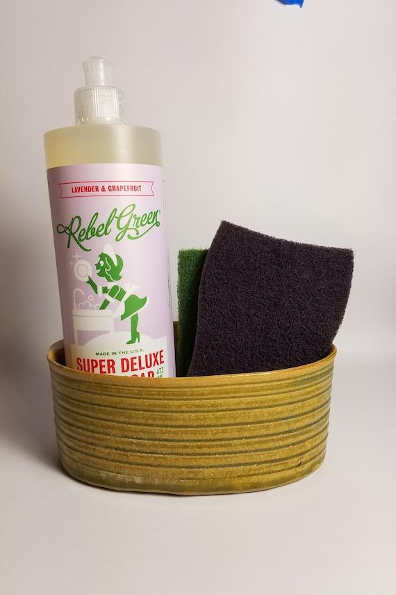 REDUCED Sponge Holder for Kitchen- Sponge Holder Pottery- For Sink-  Handmade- Ceramic- Yellow- Green