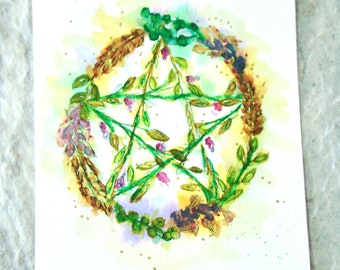 Pentagram Wreath Original Watercolor, 4 x 6.5 inch, Small Altar Art, Witch Pagan Wiccan Altar Painting, Flowers Berries Wheat Purple Gold