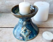 Candle Holder, UU Chalice, Personal, Table top, RE, Pedestal, Handmade Pottery Stoneware Vessel, blue brown flowing, Ritual, Ready to Ship