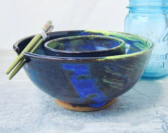 Blue Yellow Noodle Bowl Set, Blue Green Yellow, Pho Noodle Rice Bowl, Pouring, Foodie Gift, Chopstick Holder, Ramen Bowl Set, Ready to Ship