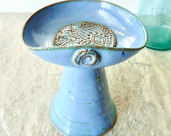 Light Blue Candle Holder, UU Flaming Chalice, Chalice for Home, Ready to Ship