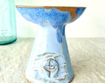 Light Blue and Ash, UU Chalice, DISCOUNTED SECOND Candle Holder, Flaming Chalice Light, Handmade Pottery Stoneware Vessel, Ready to Ship