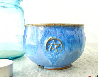 Blue Cauldron, Tea Bowl Style Drinking Caldron, Pagan Ritual Altar Tool, Kitchen Witch, Ready to Ship