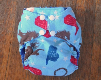 8b499f1f Cowboys Print fitted Perfect Size cloth diaper, Size Small. Ready to Ship.