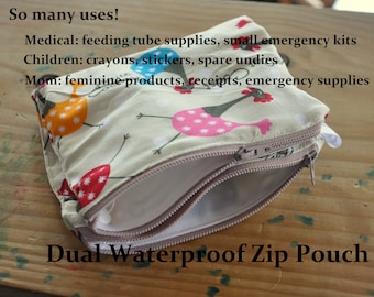Two-Sided Waterproof Zip Pouch - so many uses. Medical, personal, kid, mom