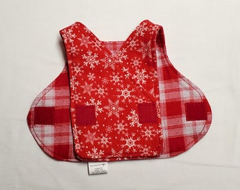 Snowflakes and Red Plaid Preemie Hospital Gown. NICU Smock. Size 1-3 pounds. Fully Reversible.