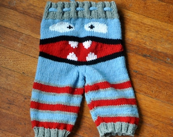 SALE!! Monster Face Knit Pants / Longies  Ready to Ship