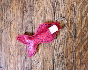 Red Mermaid keychain lip balm holder