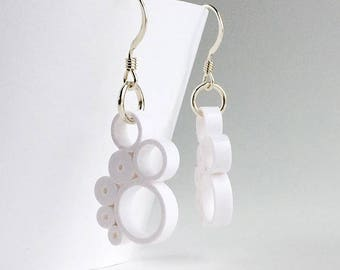 Quilled Paper multi-circle drop earrings in white, sterling silver hooks, handmade from paper, quilled paper art earrings, bridal jewelry