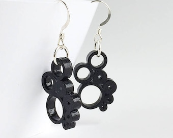 Quilled Paper multi-circle drop earrings in black, sterling silver hooks, bridesmaid gifts, quilled paper art earrings, mod circle earrings