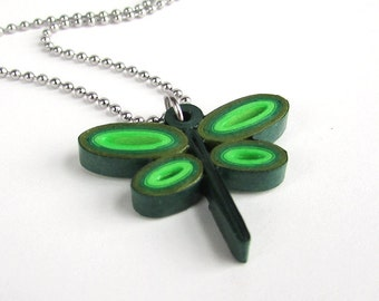 Paper Quilled dragonfly pendant necklace in green, stainless steel chain, cute gift for her, gifts for friend, dragonfly gifts