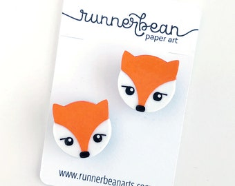 Fox Magnets for your fridge, locker or cubical in a set of TWO, handmade from cut paper
