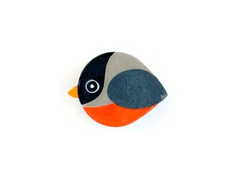 Robin magnet handmade from cut paper, bird decor for fridge and happy office spaces