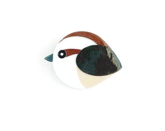 Carolina Wren magnet handmade from cut paper, bird decor for fridge and happy office spaces